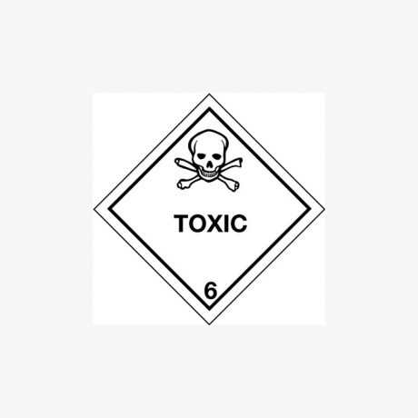 Self Adhesive 300x300mm Toxic 6 Hazard Warning Diamond Signs