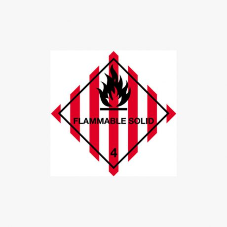 Self Adhesive 300x300mm Flammable Solid 4 Signs