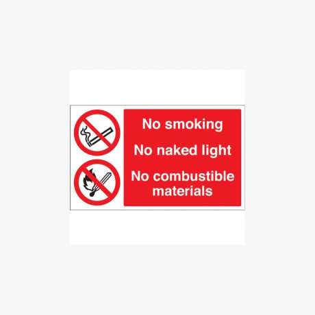 Self Adhesive Plastic 250x350mm No Smoking No Naked Light Signs