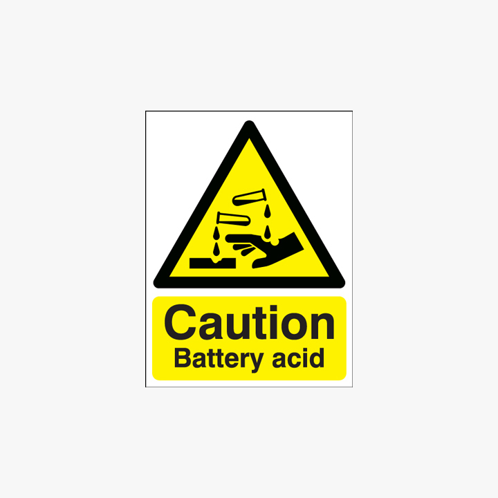 Self Adhesive Plastic 400x300mm Caution Battery Acid Signs