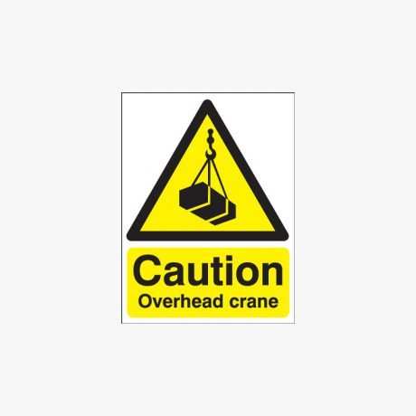 Self Adhesive Plastic 400x300mm Caution Overhead Crane Signs