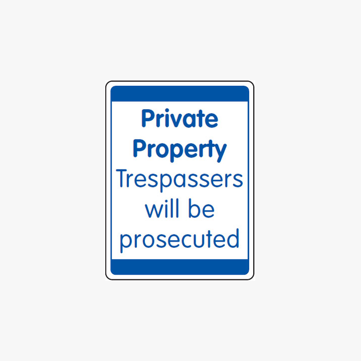 Plastic 600x450mm Private Property Trespassers Signs