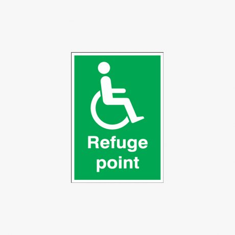 Self Adhesive Plastic A5 Refuge Point Self Adhesive Plastic Signs