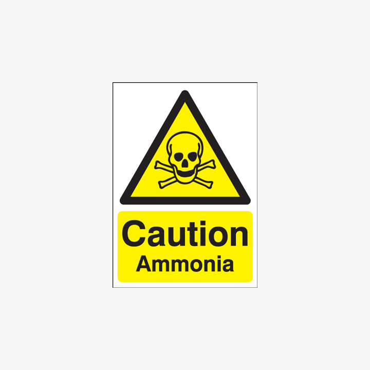 Self Adhesive Plastic A1 Caution Ammonia Self Adhesive Plastic Signs