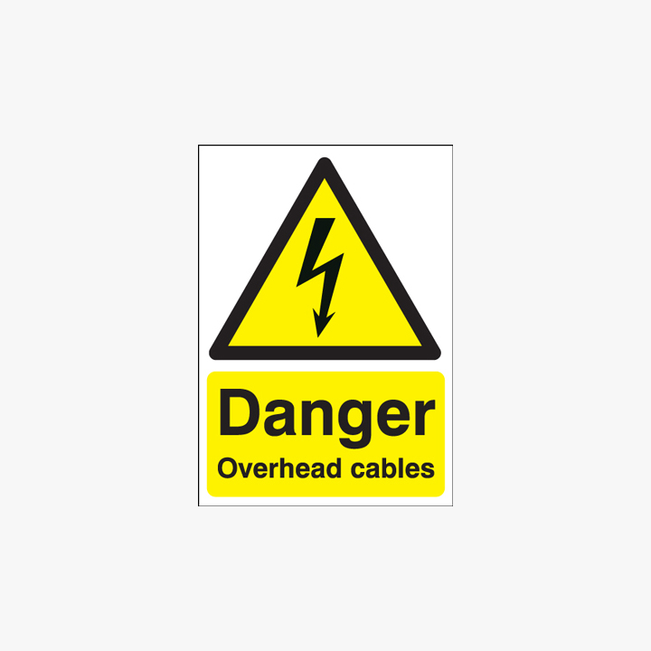 400x300mm Danger Overhead Cables Self Adhesive Plastic Signs