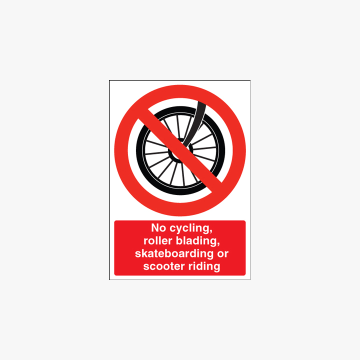 Self Adhesive Plastic 400x300mm No Cycling Rollerblading Signs
