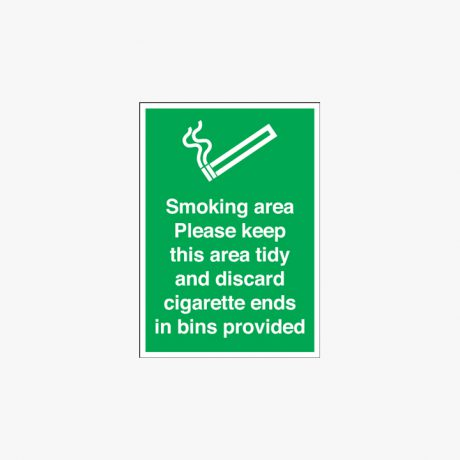 Self Adhesive Plastic 600x450mm Smoking Area Please Keep This Signs
