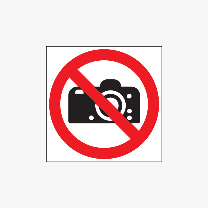 Self Adhesive Plastic 100mm Dia No Photography Signs