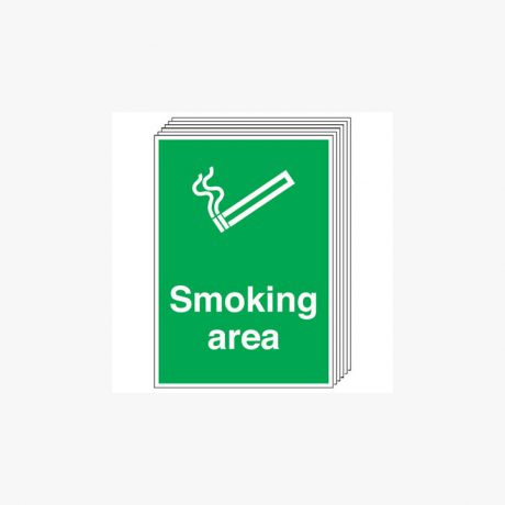 Smoking Area Multipack 6 Self Adhesive Plastic A4 Signs