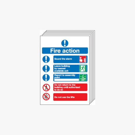 Symbolised Fire Action Multipack 6 Plastic 250x300mm Signs