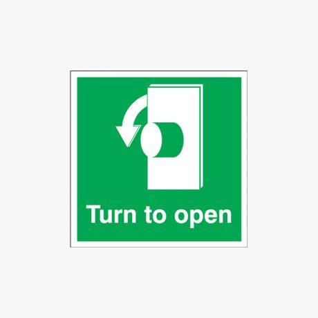 Turn To Open Anti Clockwise Night-Glow Plastic 125x125 Signs