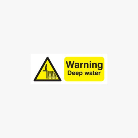 Warning Deep Water Plastic Signs 250 mm x 100 mm