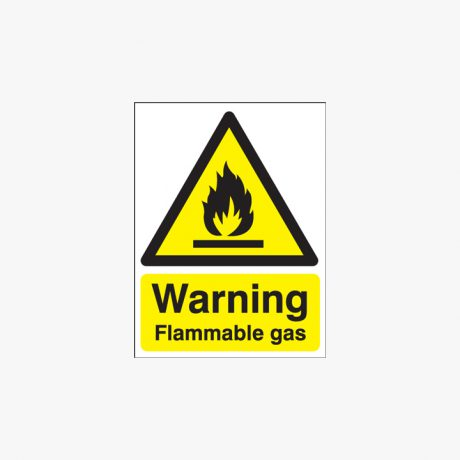 Warning Flammable Gas Self Adhesive Plastic 400x300mm Signs