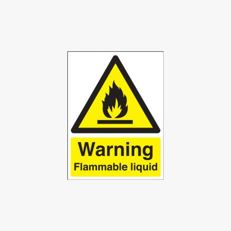 Warning Flammable Liquid 400x300mm Self Adhesive Plastic Signs