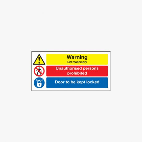 Warning Lift Machinery Plastic Signs 300 mm x 150 mm