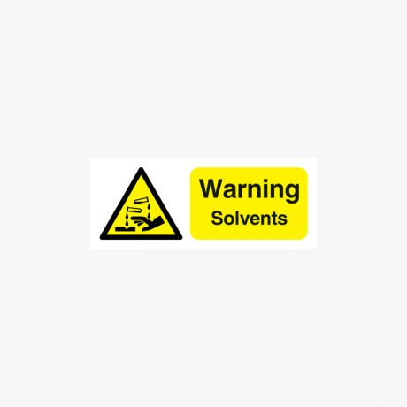 Warning Solvents Self Adhesive Signs 250 mm x 100 mm