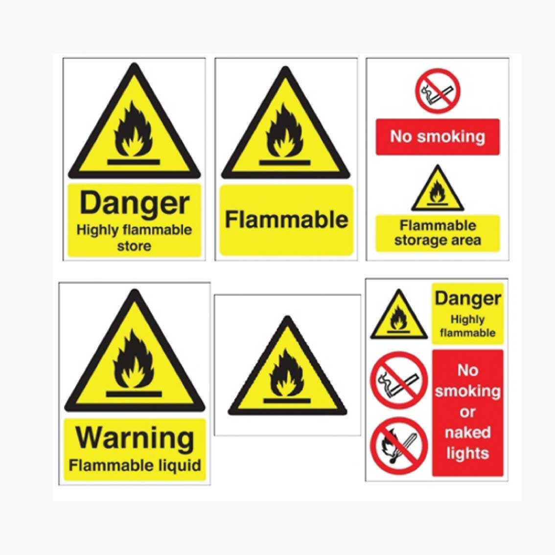 Flammable No Smoking and Flammable Materials Signs