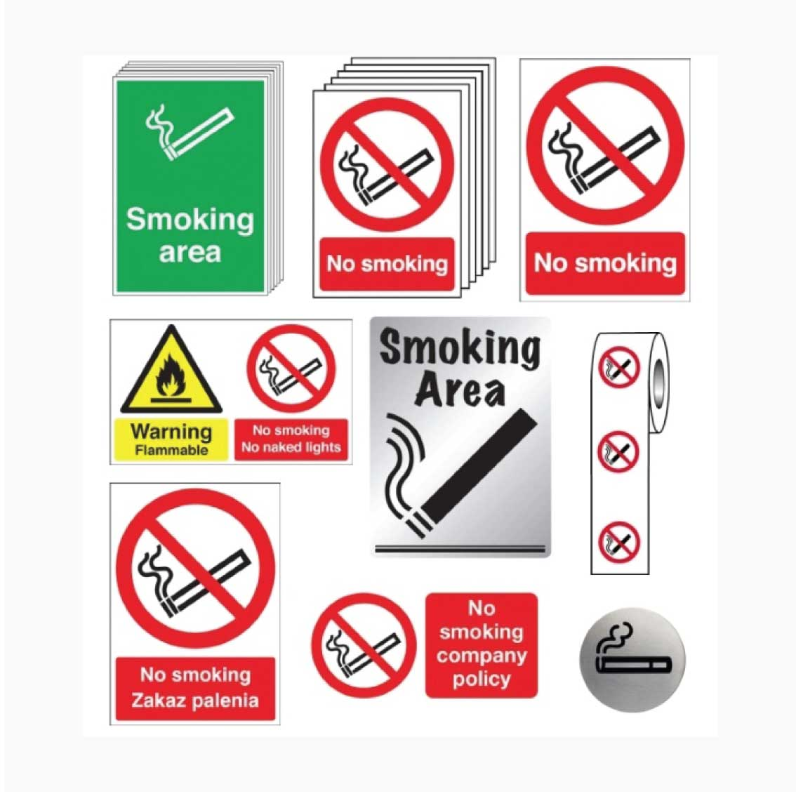 Smoking heath and safety signs
