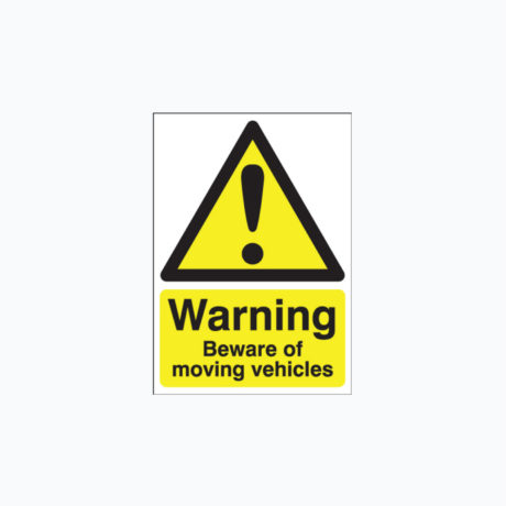 Warning Beware of Moving Vehicles Signs