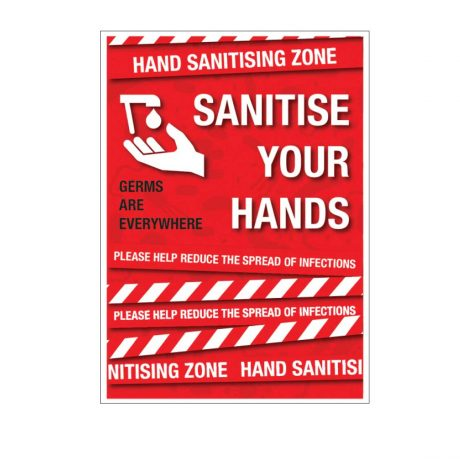Hand sanitising zone poster