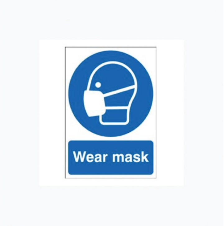 Wear Face Mask Plastic Signs Sticky Backed
