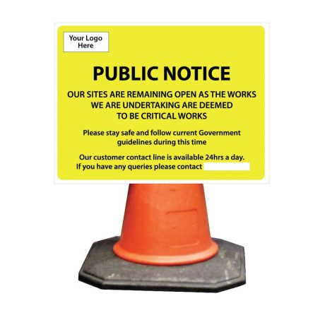 essential works cone sign