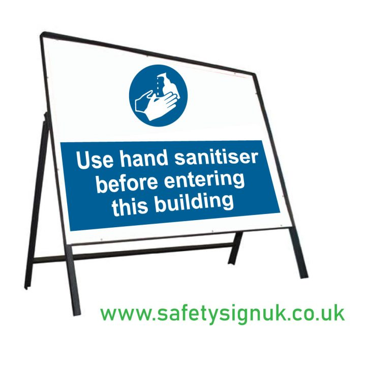 hand sanitiser in this building stanchion sign
